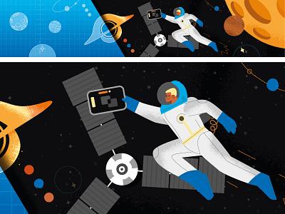 Space developers planet cosmic space branding design ui vector line art adobe illustrator flat illustration character