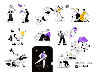 Vector illustration for Archlet vector illustration graphic design branding design ui vector line art adobe illustrator flat illustration character