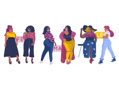 Female bodypositive characters design bodypositive plussize beauty stylish bright style flat character female character feminist feminism feminine