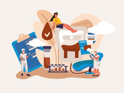 Characters Sitting in Medical Hospital Chairs Donating Blood. donate donation animation illustration character flat adobe illustrator