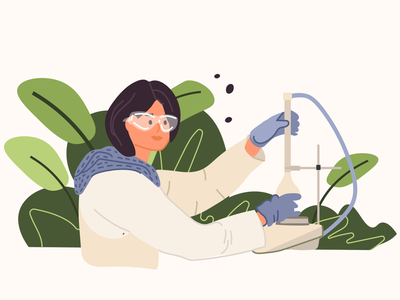A young researcher conducts research laboratory doctor researcher flat illustration adobe illustrator