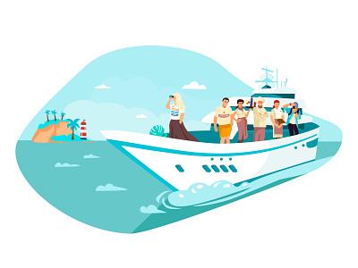 """Ismira"" website illustration character design website vacation cruise ship cruise illustration flat character"