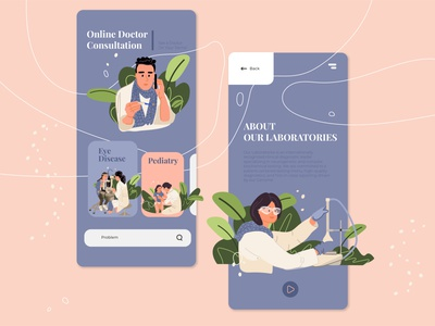 Online doctor consultation app sketch illustration design onboarding ix ui online consultancy doctor app flat character