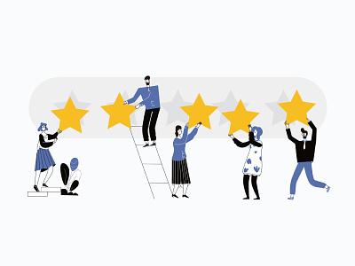 Vector cartoon illustration of 5 Rating Stars cartoon 5 line art ui illustration adobe illustrator flat character