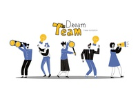 Vector business illustration ,success, dream team work.