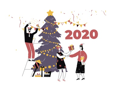 Soon/ New Year 2020 happy merrychristmas newyear 2020 line art ui illustration adobe illustrator flat character