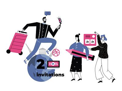 Two Dribbble Invites ui illustration adobe illustrator flat character dribbble invitation invite giveaway invitation dribbble invite draft