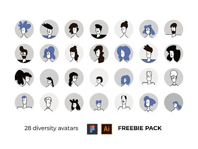 Diversity Avatars in Outline + Flat style line art ui illustration adobe illustrator outline line avatars flatdesign icons flat character
