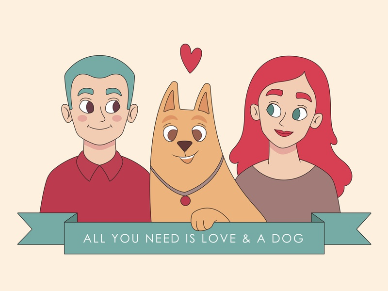 All you need is love & a dog ♥ dog shelter postcard design happy lovely love couple dog illustrator flat character design flat illustration design character illustration vector