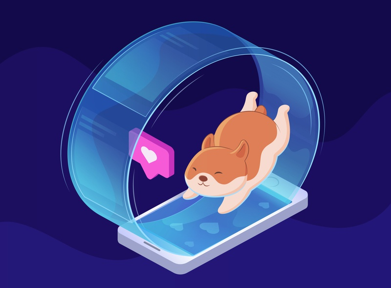 Hamster like scrolling hamster ux space isometric illustration web illustrator design illustration vector