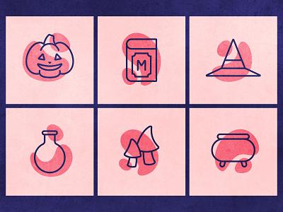 Halloween Icons magic witch icon set branding ui web flat flat illustration illustration vector