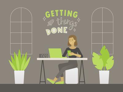 GTD done freelance designer work place office gray green minimal design girl character lettering illustration vector