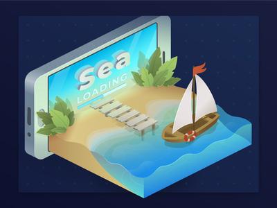 SEA shallow vector artwork phone beach boat sea 3dillustration isometric illustration illustration vector