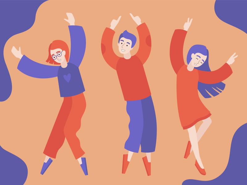 Dancing people moving festival people dancing minimalism vector illustration flat illustration flat character illustration vector