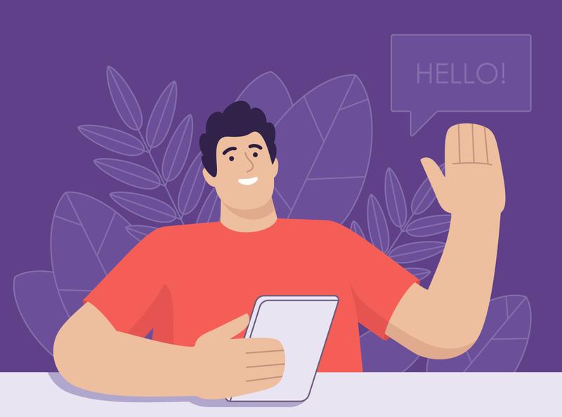 Hello! chatting plants speaker hello happy flat character design shirko character illustration vector