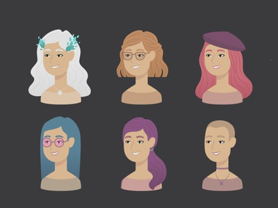 Cute hairstyles for girls happiness smiley face beautiful girl stylish flat illustration cute art pretty hairstyle girls character illustration vector