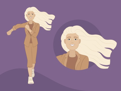 Yaroslava. Forward to the dream woman portrait woman leader white hair suit happyness walk go branding flat illustration flat character design illustration vector