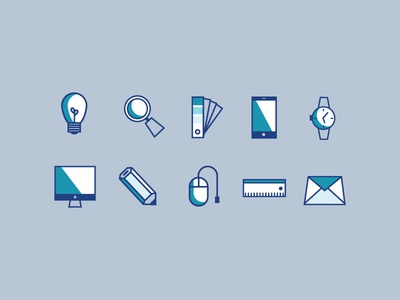 Design Agency Icons email light bulb pantone thin lines design marketing icons