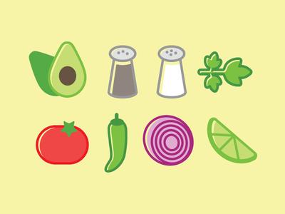 Guac! cilantro lime tomato illustration food recipe avocado guacamole icon