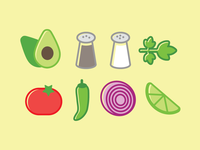 Guac! cilantro lime tomato illustration food recipe avocado guacamole icon