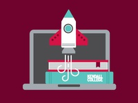 Kendall College Library Illustration college books rocket illustration icons laptop library