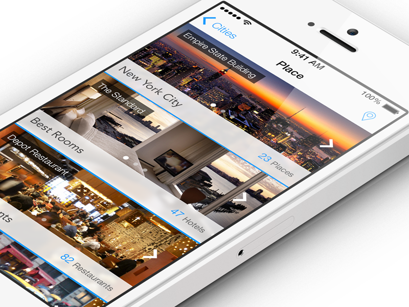 Place iOS7  city apple wwdc ios7 ios 7 ui gui element iphone place travel mobile new flat clear discovery local psd cities