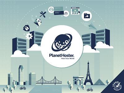 Illustration Data Centers cloud icons blue paris montreal hosting flat design