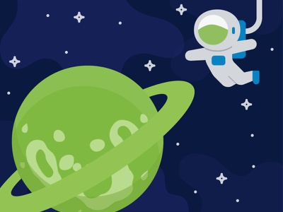 Welcome to our Planet welcome page astronaut univers planet green flat design