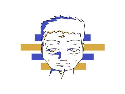 Old Man 2color eye beard line art oldguy manga anime design black geometric face old illustration blackandwhite vector art modern blue gold man