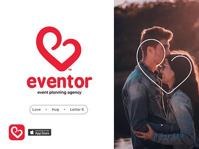 Eventor identity lovely warm red minimal letter hug event app valentine heart love ux ui icon illustrator web app art direction logo branding