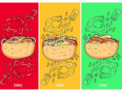 Pita Sandwich Wall Art restaurant sandwich wall art food color doodle flat ui vector web typography illustrator illustration art direction