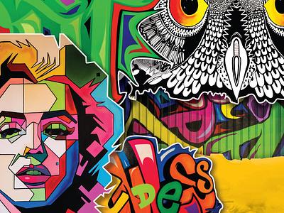 Collage Art Cover typogaphy spray colors web illustration cover design graphic design art grafitti collage design art direction