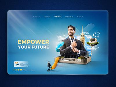 YEP Employment Landing Page manipulation tower web design banking suit landingpage tie case blue icon webdesign app ui ux design art direction