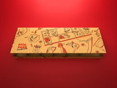 Sandwich Big Box 3d art doodles design branding red box package rendering 3dmodels 3d art direction