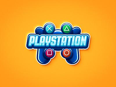 PlayStation Snacks Logo buttons joystick blue games playstation design graphic ux vector ui logo illustration branding art direction