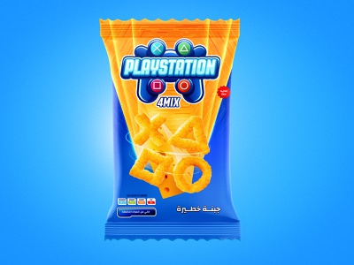 Snacks Package playstation cheese blue snacks package logo graphic branding illustration design art direction