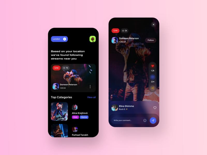 Live Streaming App Concept dark minimal twitch video streaming music game live streaming trending iphonex app mobile product design uxui userinterface ui uidesign design