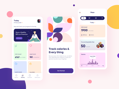 Fitness app Concept clean tracking calories gym workout fitness color minimal app mobile ux product design uxui userexperiencedesign userinterface ui uidesign design