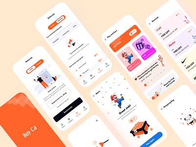 Gamification shopping mobile app ecommerce gamezone game vouchers rewards orange logo branding illustration product design uxui userexperiencedesign userinterface uidesign design