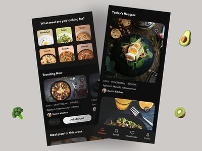 Recipes🍪 app clean mobile ui drink food chef recipes dark minimal popular trending branding product design uxui userexperiencedesign userinterface uidesign design