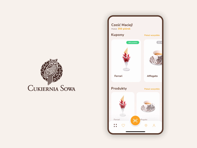 Cukiernia Sowa - application animation animated app application animation app animation bakery coffee confectionery iphone principle app mobile animation principle ui design figma ux design ui
