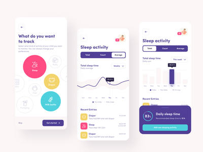 SleepConcept - baby monitor app iphone ios button design app screens kid kids bubbles linear chart colors blue app mobile app figma bar chart charts chart activity log baby mobile
