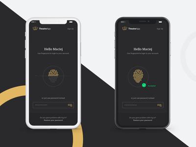 Theatre app - iPhone x app design ui design ios data luxury app screen unlock fingerprint iphone x theatre