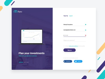 Flato - real estate investments tool investment macbook pro design ux panel dashboard ui register panel login login panel real estate