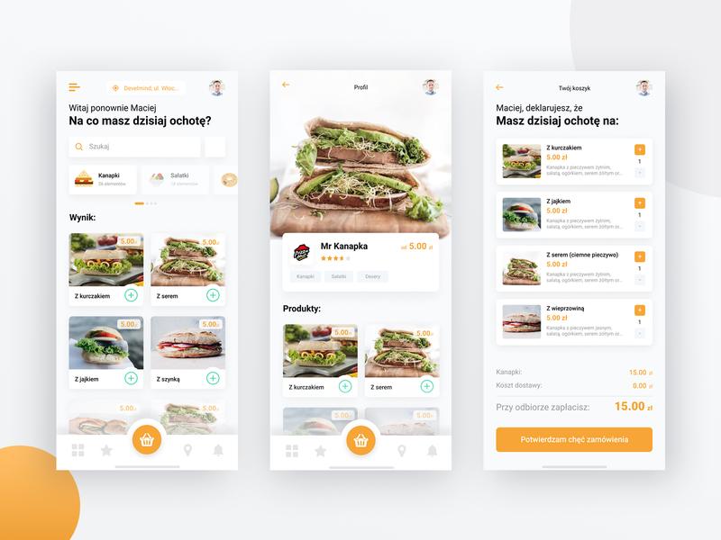 Mr Kanapka - food delivery mobile app v.0.2 design clean mobile cart order minimal app orange app burger app pan kanapka sandwich ui design food delivery app mobile application food