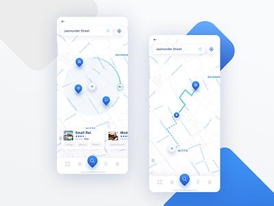 Real Estate Mobile App ux minimal clean blue mobile design mobile map map range mobile app figma ui