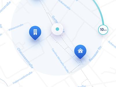 Flato - Real estate mobile app illustration iphone x iphone ios ios design mobile map real estate mobile app blue design figma ui