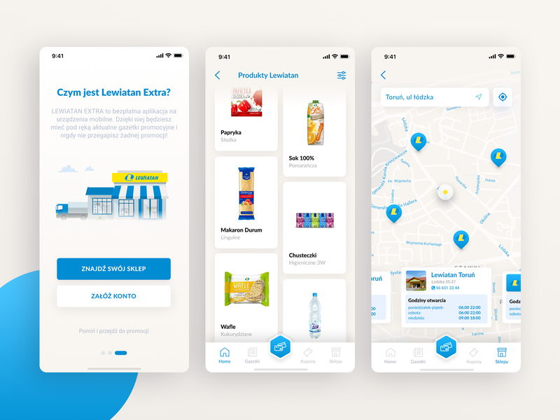 Lewiatan App Concept mobile ux application design aplikacja lewiatan iphone app blue app android mobile design illustration mobile app figma ui design design ui
