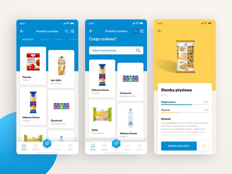 Lewiatan Products List ecommerce store app e-commerce app food blue app ui design blue ios ux mobile design figma mobile app design ui