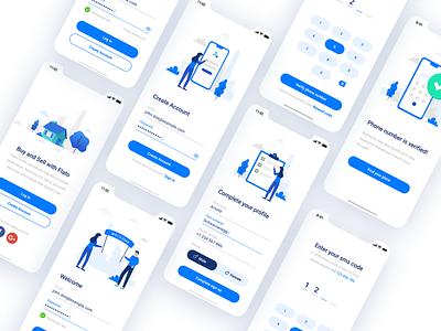 Flato - Real estate mobile app login process iphone app design ux mobile ui ui iphone illustration figma blue app iphone app real estate flato